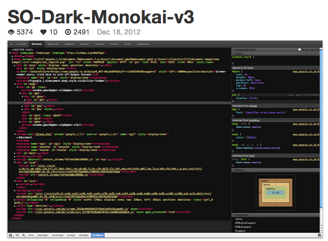 Chrome Dev Tools so-dark-monokai-v3